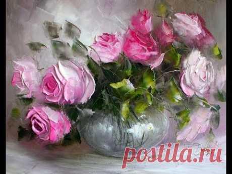 """Картина маслом поэтапно """"Букет роз мастихином"""". Bouquet of roses.Picture - YouTube"""