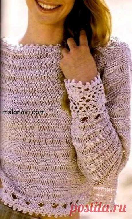 Воздушный летний пуловер со спущенными петлями - Вяжем с Лана Ви Воздушный летний пуловер со спущенными петлями — прекрасная легкая модель. Использованы два вида узора со спущенными петлями. В помощь я подобрала материал для одного из узоров ЗДЕСЬ. Я прописала несколько вариантов исполнения, выберите тот, который будет наиболее понятным и легким для вас. Приятных всем обновок! Воздушный летний пуловер со спущенными петлями (Перевод с французского мой. […]