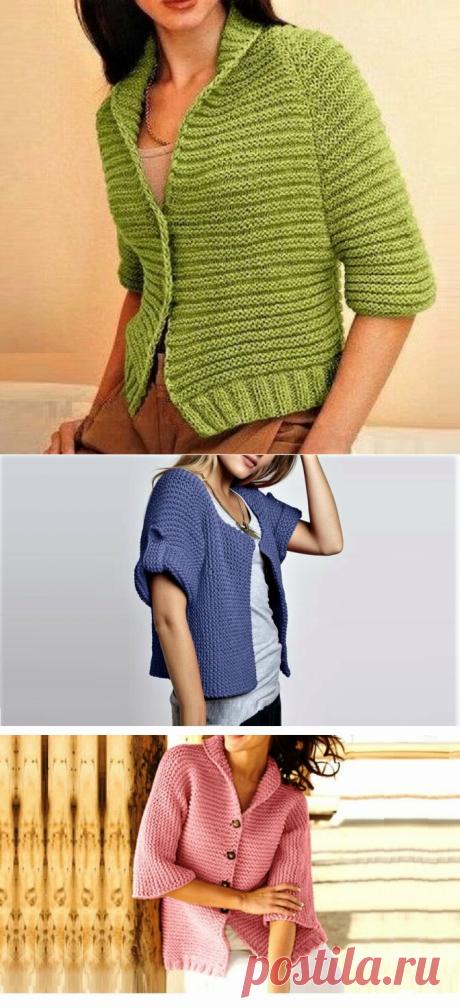 3 простых красивых жакета, связанных платочной вязкой | Идеи рукоделия | Яндекс Дзен