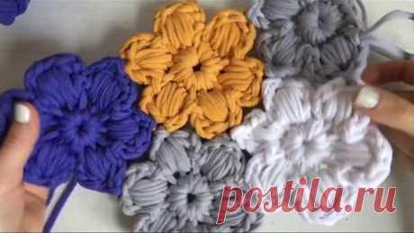 Цветочный ковер. Безотрывное вязание крючком/Crochet flower