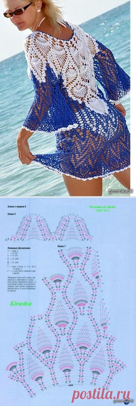 Пляжная туника узором ананас. Пляжная туника крючком со схемами | Домоводство для всей семьи.