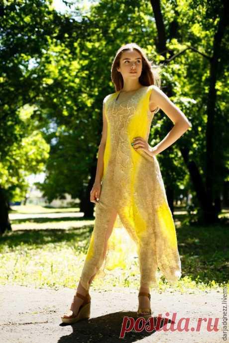 """Купить Платье ручной работы """"Шерстяная паутинка"""" - бежевый, платье, платье вечернее, платье летнее"""