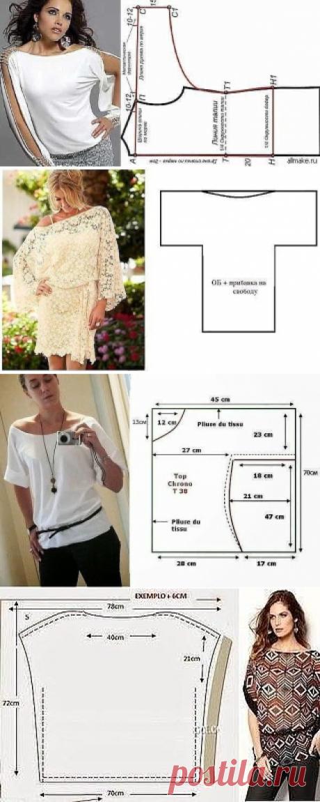 Идеи красивых и простых в пошиве блузок с цельнокроеным рукавом — Сделай сам, идеи для творчества - DIY Ideas