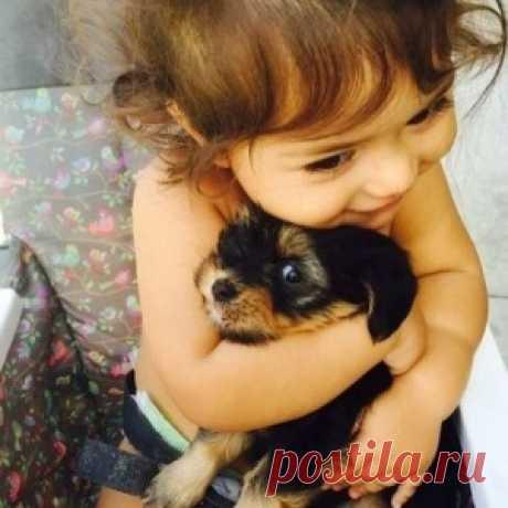 Подборка самых милых трогательных фото с детьми и животными! - МирТесен