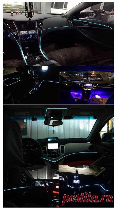 Автомобильный интерьерный аксессуар, 5 м, атмосферный холодный светильник EL, линия с USB, декоративная панель DIY, консоль, светодиодный автомобильный светильник|light interior|line lightline lamp | АлиЭкспресс