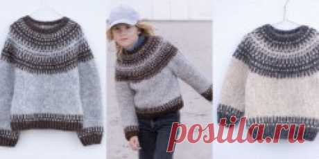 Детский пуловер с круглой кокеткой Badger Sweater - Вяжи.ру