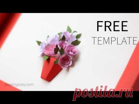 How to DIY 3D paper flower card, FREE template 💘💛💚