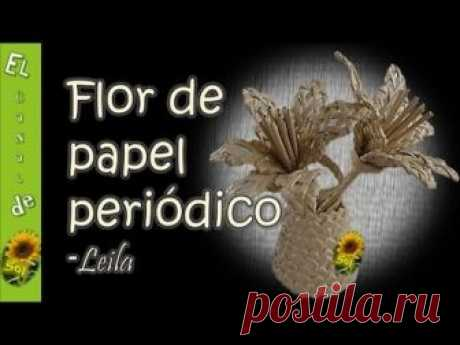 Flor de papel periódico Leila - Flower newspaper Leila