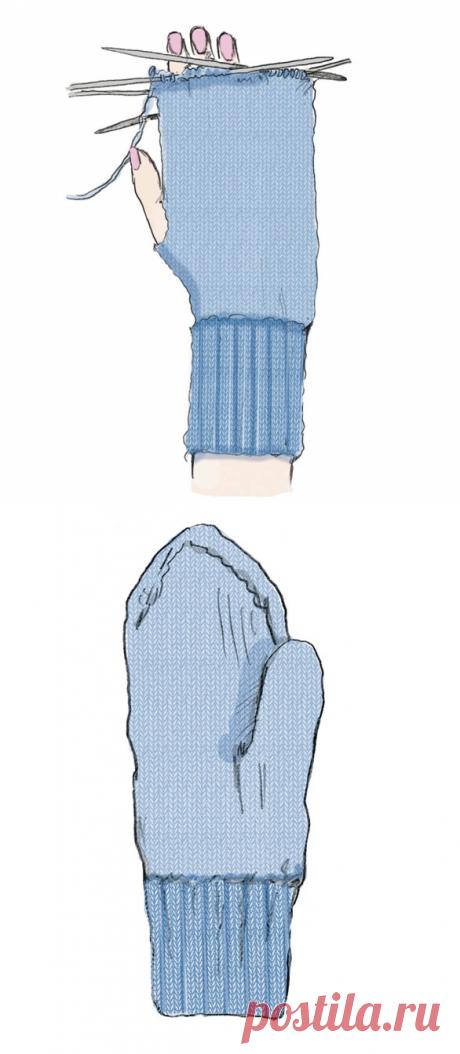 Как вязать варежки без клина большого пальца - схема вязания спицами. Вяжем Техника вязания на Verena.ru