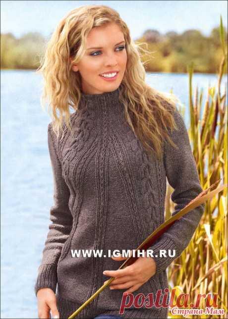 Теплый коричневый пуловер с косами, от Verena. Спицы - Вязание - Страна Мам