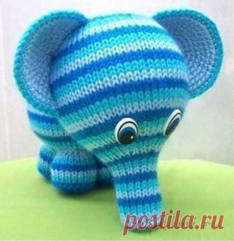 Радужный слоник, вязаные игрушки