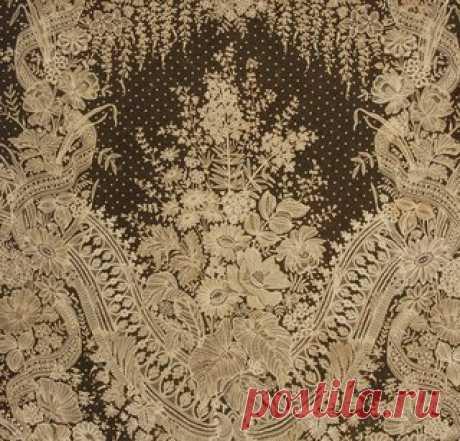 Шаль из брюссельского кружева ручной работы, середина XIX века