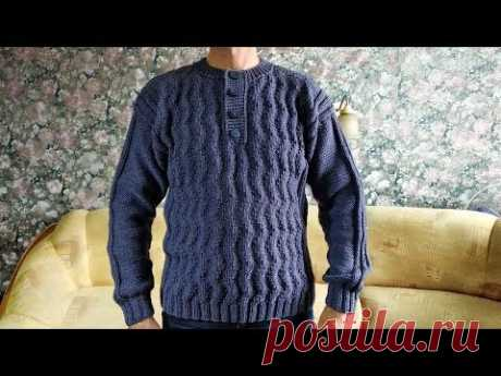 Мужской пуловер с застёжкой«Поло»спицами.МК.