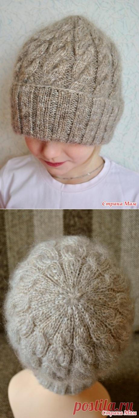 Вяжем несложную шапку с косами Puffo - Вяжем вместе он-лайн