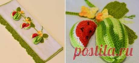 """The knitted water-melon for decoration of a kitchen towel - Handmade-Paradise the Knitted water-melon for decoration of a kitchen towel is connected by a hook from a thin cotton yarn \""""iris\"""" of several flowers. Schemes of knitting of a water-melon are attached."""