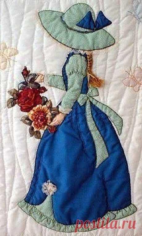 Красивые аппликации из лоскутков ткани - Барышни   Прекрасные аппликации для декора одежды, аксессуаров и картин       источник