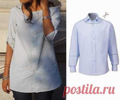 Переделки: Оригинальные блузки из рубашек | Рукоделие