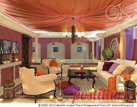 АРАБСКИЙ СТИЛЬ В ИНТЕРЬЕРЕ  Восточный дом всегда очень красочен, но в нем отсутствует приторность, а царит домашняя атмосфера тепла и уюта. В комнатах постоянно витают запахи чего-то чарующего и сладкого, а стиль в целом, прежде всего, символизирует гостеприимство. Возможно, именно поэтому, арабский стиль в Европе чаще всего используется в дизайне спален, гостиных, бассейнов и лаундж-зон, то есть в местах, где человек расслабляется и хочет отдалиться от проблем.