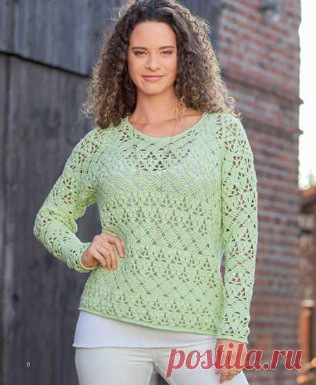 Пуловер интересными плетеными узорами крючком – схема и описание
