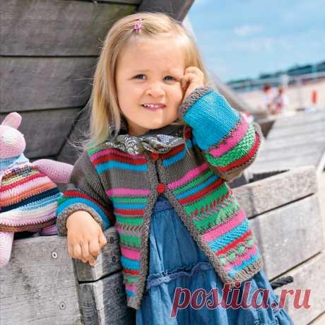 Жакет в разноцветную полоску - схема вязания спицами. Вяжем Жакеты на Verena.ru