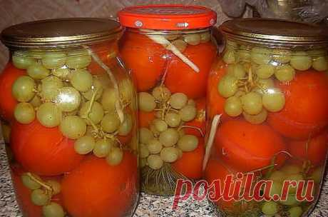 Консерванные томаты с виноградом Консерванные томаты с виноградом Будем закрывать помидоры в 3-литровой банке, пропорции даны...
