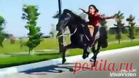 9-летняя наездница Гюлай из Азербайджана скачет на лошади, исполняя трюки!