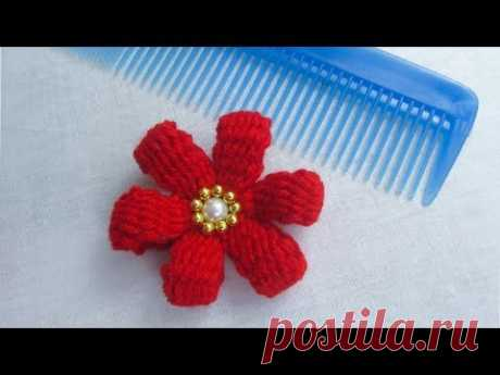 Hand Embroidery Amazing Trick, Easy flower embroidery trick with hair comb