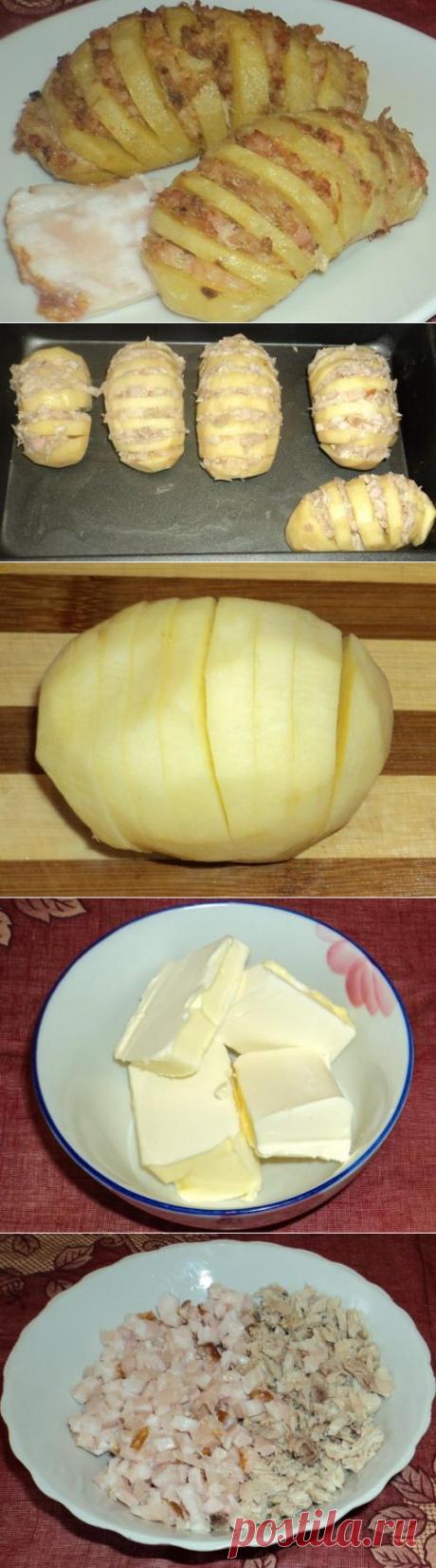 """Гармошка"" из картошки с куриным фаршем"