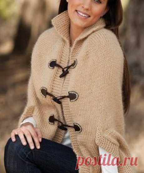 Красивое вязание | Пончо - накидка спицами.
