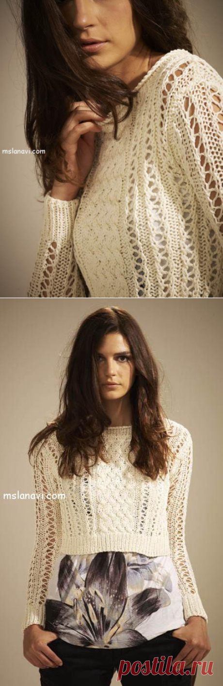 Короткий вязаный пуловер от Austermann - Вяжем с Лана Ви
