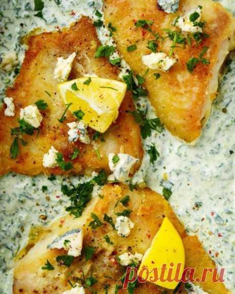 Нежная рыба со шпинатом в сливочном соусе