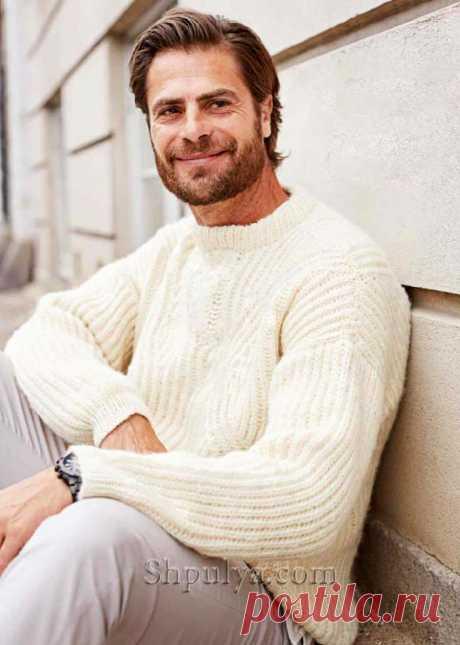 Мужской пуловер, связанный патентным узором — Shpulya.com - схемы с описанием для вязания спицами и крючком