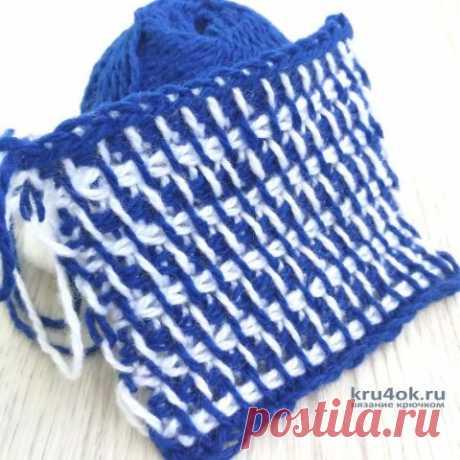 Двухцветный узор крючком. Тунисское вязание