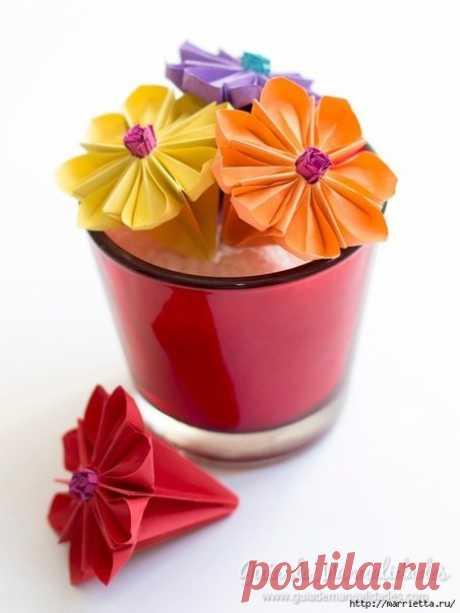 Водяная лилия из бумаги в технике оригами
