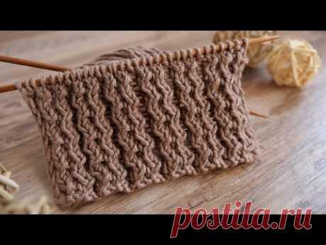 Резинка с танцующими петлями спицами 💃 Rib with dancing stitches knitting pattern