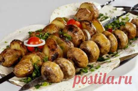Шашлык из картошки и шампиньонов. Рецепт шашлыка из картошки вегетарианский