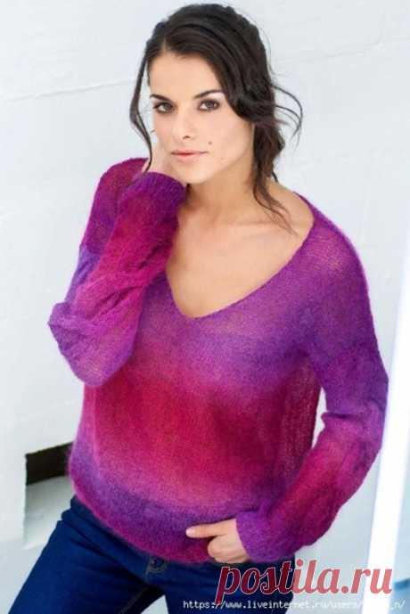 Пуловер с косами на рукавах  Размер 34-36 / 38-40 / 42-44 / 46-48 / 50-52