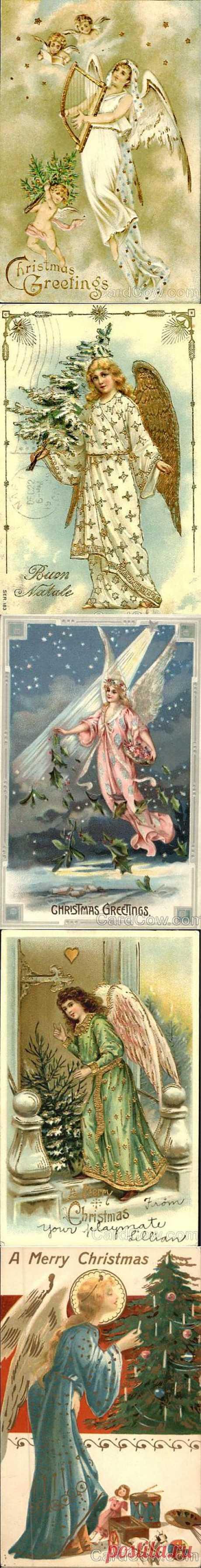 Рождественские ангелы со старых открыток-4.