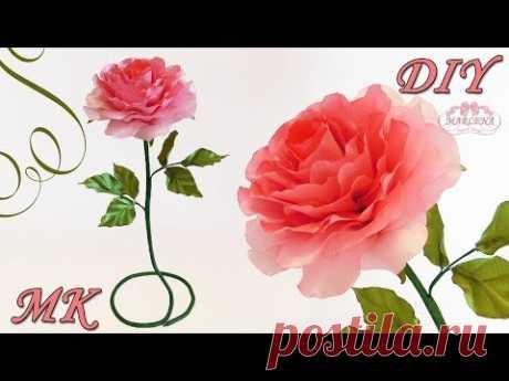 🌹 РОЗЫ ИЗ ЛЕНТ. Интерьерная роза своими руками 👐 МК/DIY - YouTube