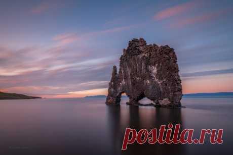 «Зверь на вечернем водопое» Скала Хвитсеркюр, Исландия. Фотограф – Александр Кукринов