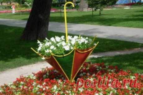 использование старого зонта - а-ля клумба
