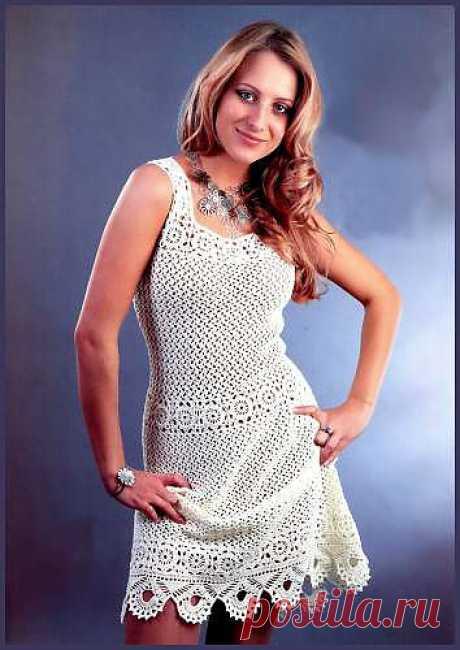 Вязаное платье белого цвета. Ажурное вязание крючком. - Схемы вязания платья - Схемы для вязания - Уроки вязания крючком - Вязание крючком, мотивы, схемы для вязания крючком