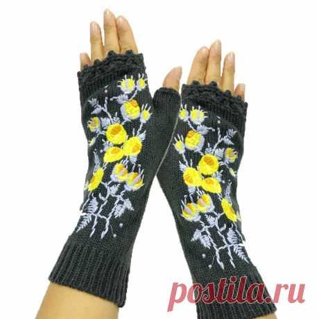 Новые высококачественные варежки ручной работы женские осенние теплые шерстяные трикотажные зимние перчатки с цветочной вышивкой   Женские перчатки  