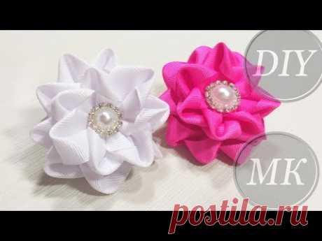 Складной цветок Канзаши 🌺   Ribbon flowers for hairstyle 🌺  Flor dobradura - YouTube
