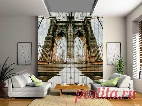 """Стеновые панели """"Бруклинский мост"""" по цене от 7500 руб./кв.м. Мин. метраж: от 4 кв.м. Срок изготовления: 7-10 дней. Дизайн-макет и виртуальная примерка в вашем интерьере БЕСПЛАТНО!"""