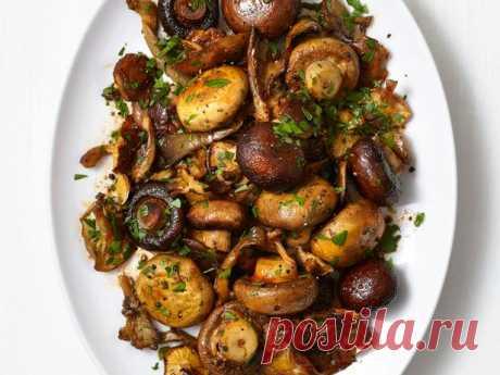 Запечённые лесные грибы в духовке