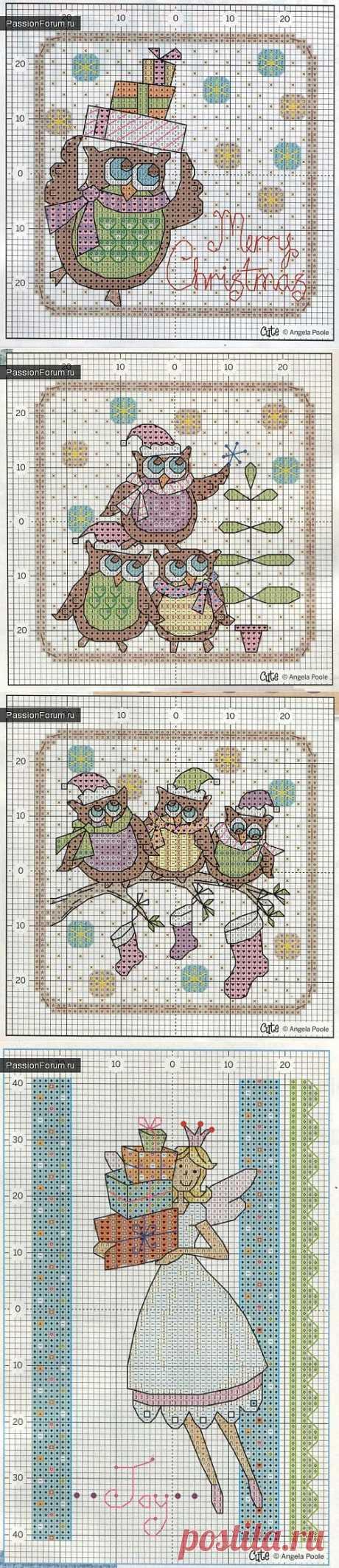 Схемы вышивки крестом новогодних открыток / Новогодний декор / PassionForum - мастер-классы по рукоделию