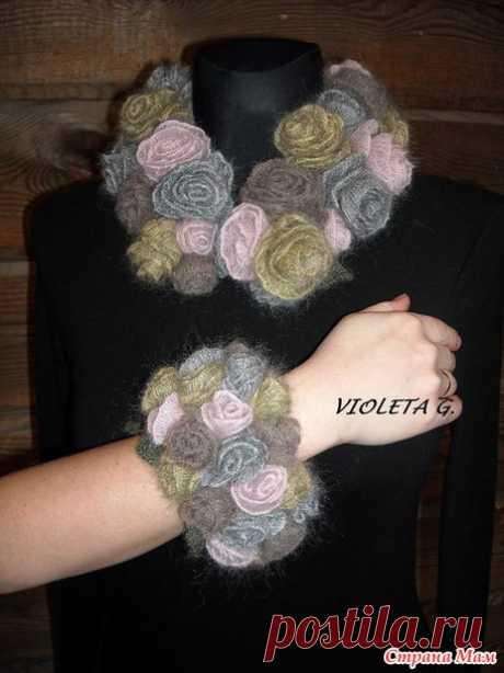 Тёплые аксессуары: шарф-воротник, браслет, брошь из розочек. МК. / Страна Мам