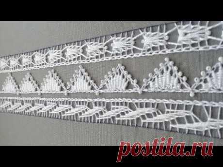 Декоративные кружевные стежки*Румынское кружево на ткани *деликатная вышивка для блуз * #malina_gm