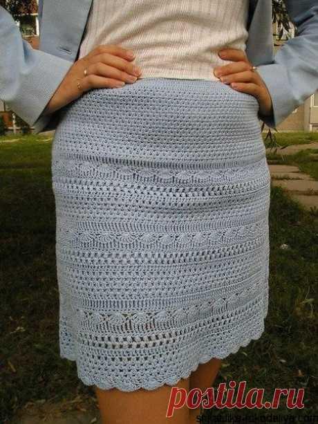 Короткая юбка крючком Короткая юбка крючком с описанием. Связать ажурную юбку на лето своими руками